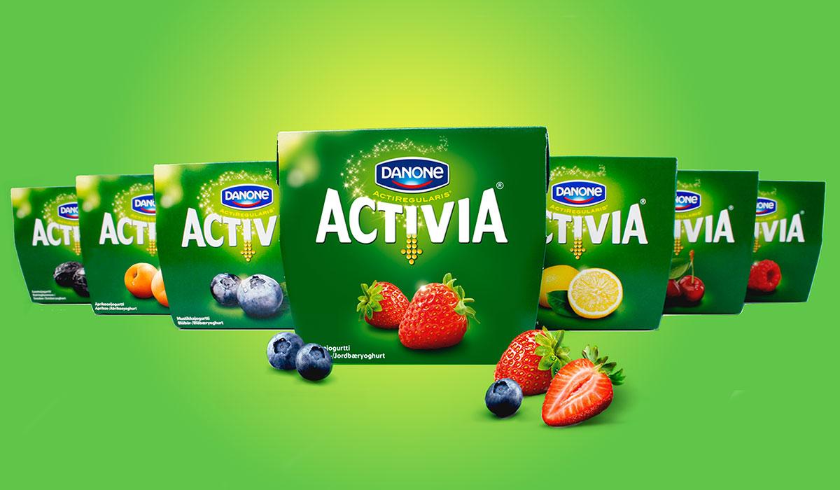 Danone Activia pakkaussuunnittelu