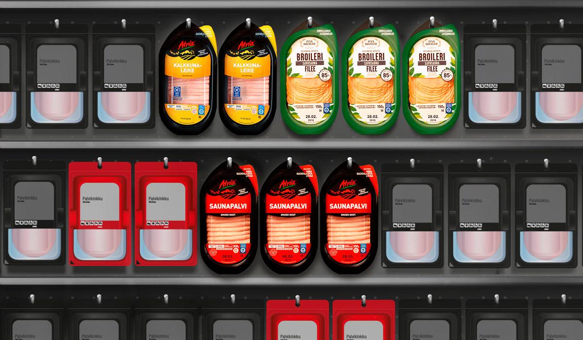 Atria Easy Open Packille pakkausmuotoilulla hyllyerottuvuutta