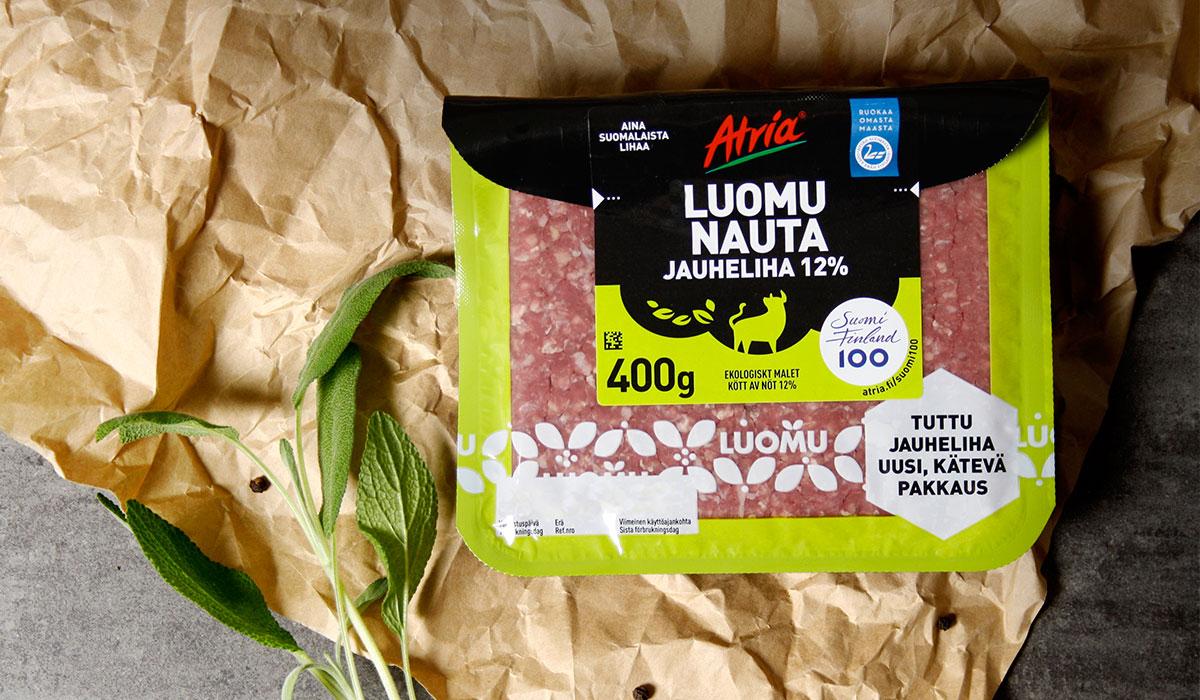 Atria Luomu Nauta Jauheliha pakkaussuunnittelu