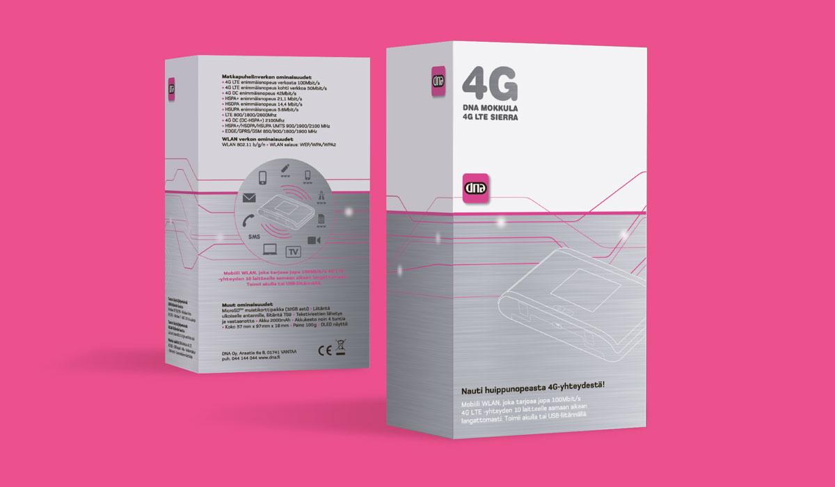 DNA 4G Mokkula pakkaussuunnittelu