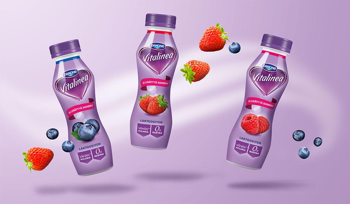Danone Vitalinea juotavat jogurtit pakkaussuunnittelu