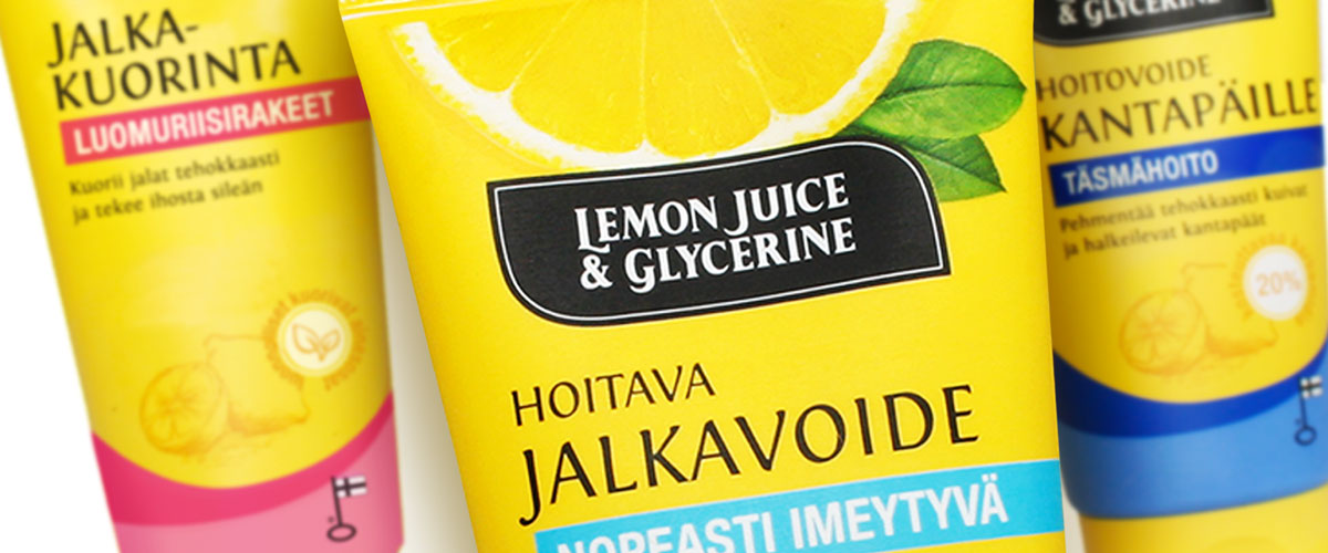 Lemon Juice & Glycerine jalkavoiteet pakkaussuunnittelu
