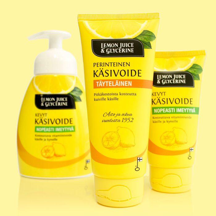 Lemon Juice & Glycerine käsivoiteiden pakkaussuunnittelu