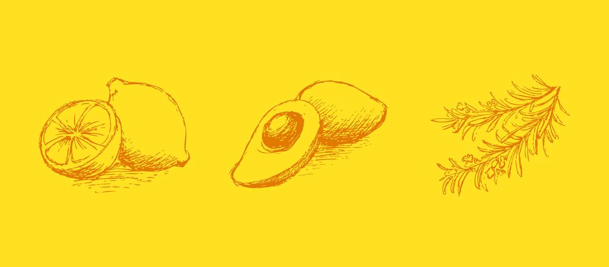 Lemon Juice & Glycerine raaka-aineet kuvitukset