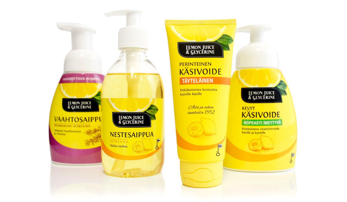Lemon Juice & Glycerine pakkaussuunnittelu