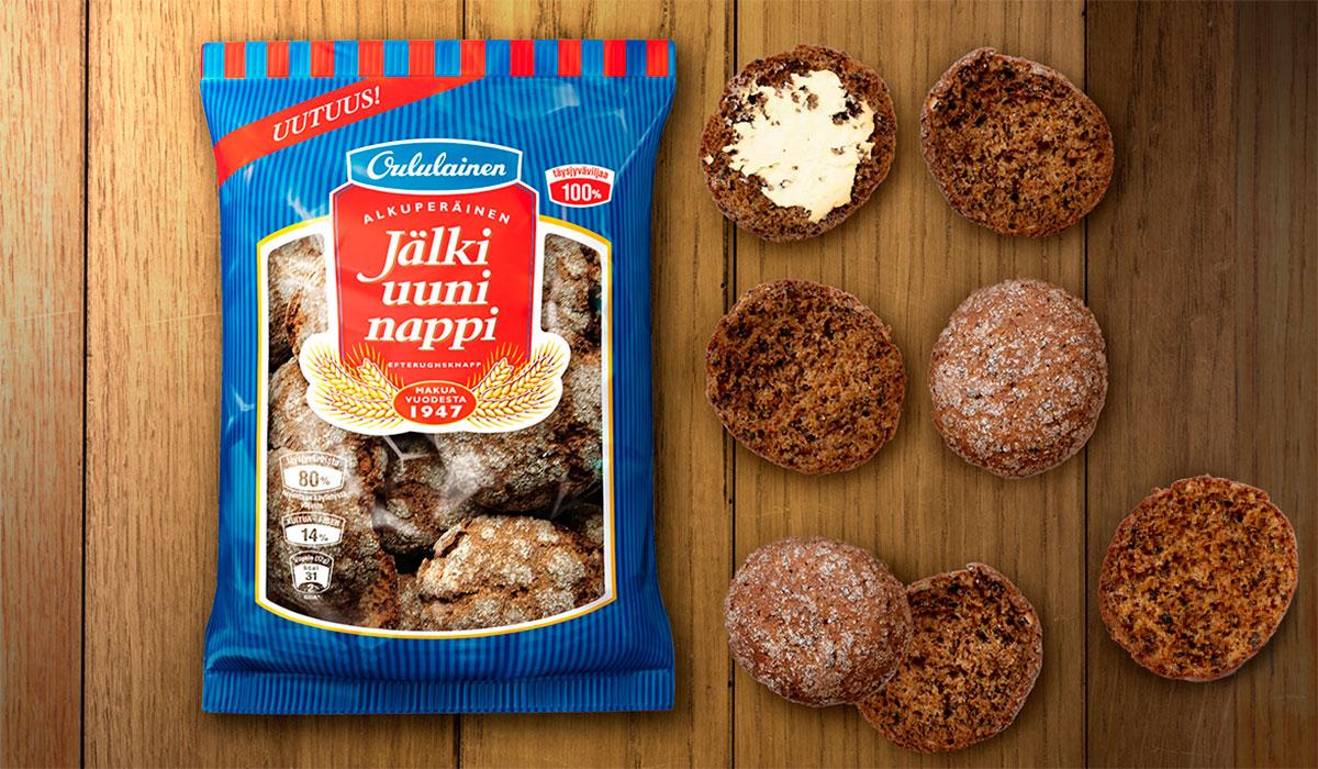 Oululainen Jälkiuuninappi pakkaus ja leipäpaloja