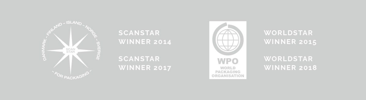 Packdesign ID:n voittamat Scanstar ja Worldstar palkinnot