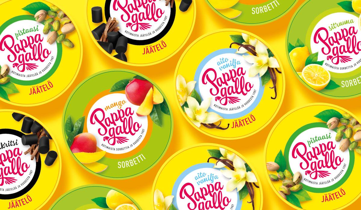 Pappagallo ice cream graphic design