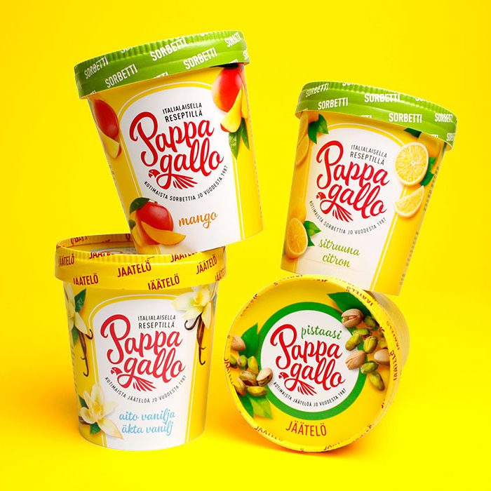 Pappagallo ice creams and sorbets - brand redesign