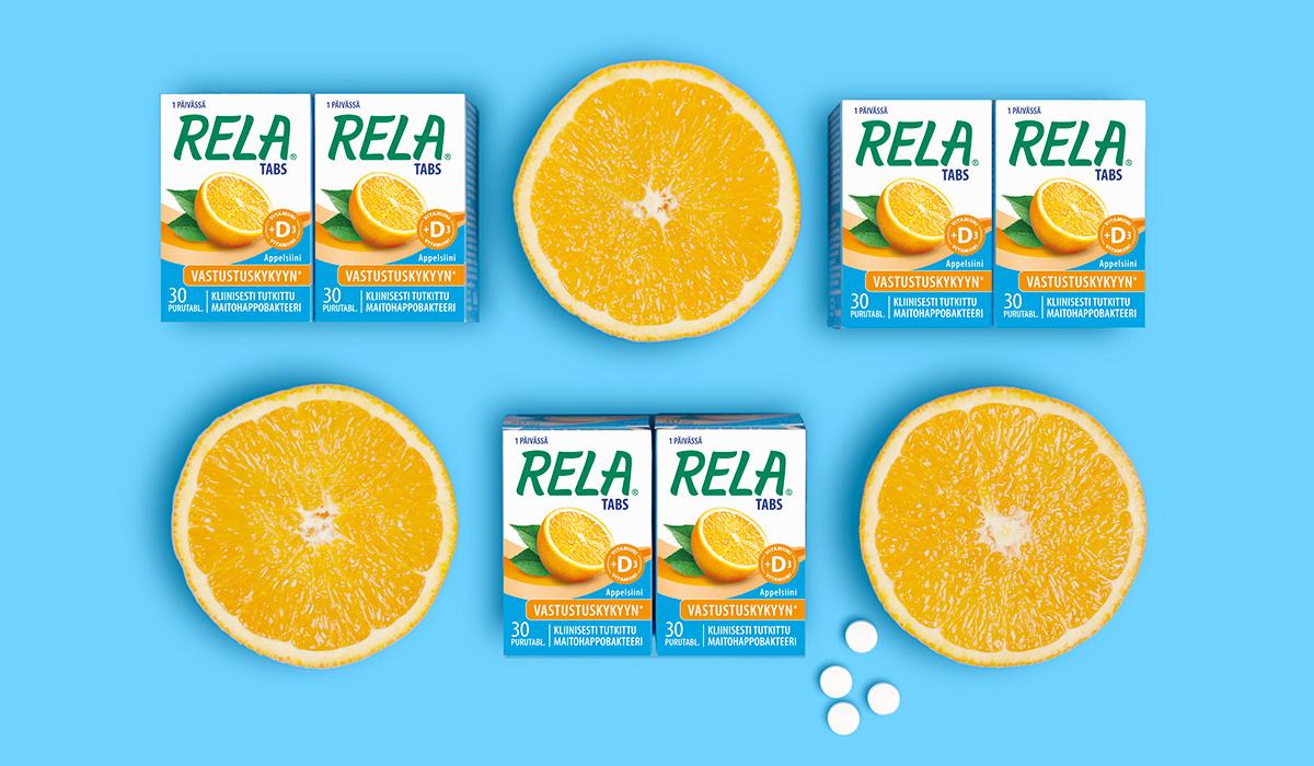 Rela Maitohappobakteeri Appelsiini, pakkaussuunnittelu