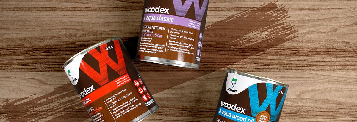 Teknos Woodex brändisuunnittelu ja pakkaussuunnittelu