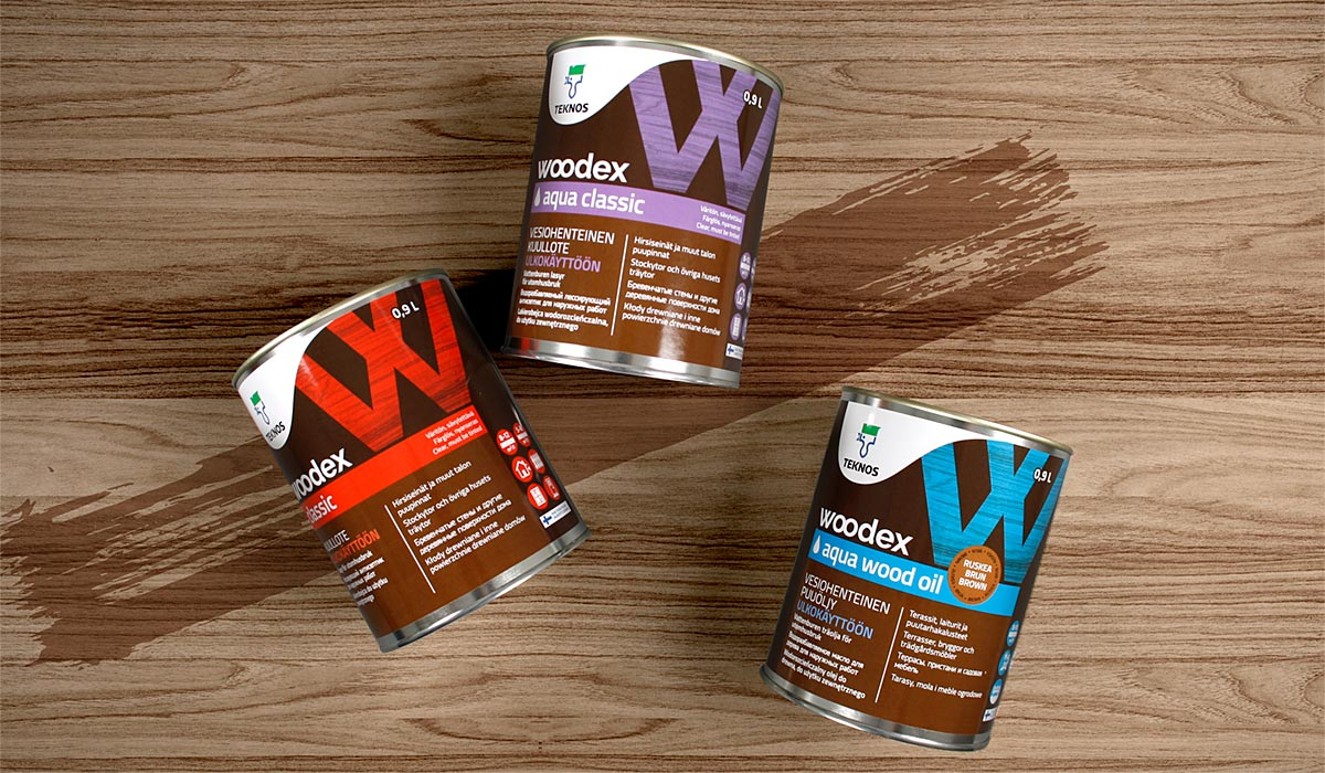 Woodex Classic 1L, Woodex Aqua Classic 1L ja Woodex Aqua Wood Oil 1L pakkausdesign