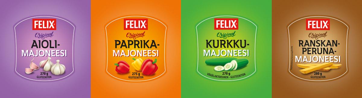 Felix maustetut majoneesit pakkausdesign