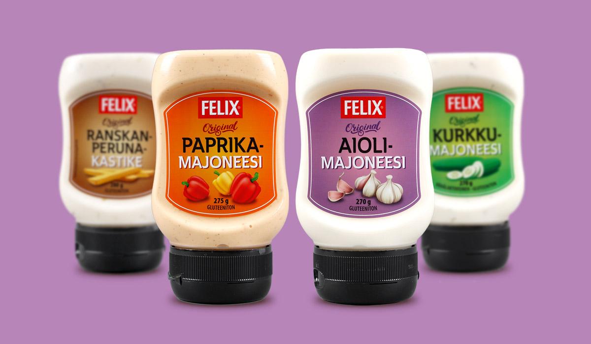 Felix ranskanperunakastike, Paprikamajoneesi, Aiolimajoneesi ja Kurkkumajoneesi